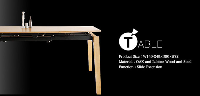 TABLE;Product Size:W140〜240×D90×H72cm。